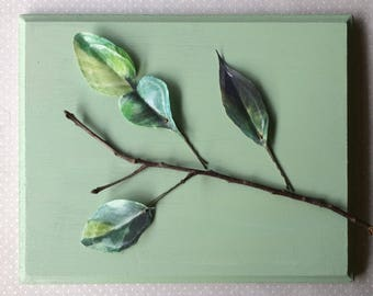 Handmade Tree Leaves Hair Bobby Pins in Green Cotton and Silk Organza Fabric - 3 pieces