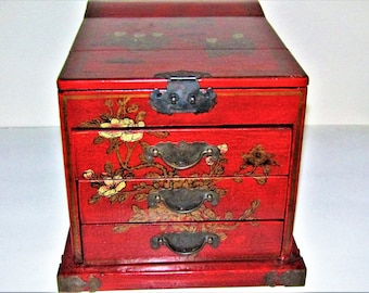 Chinese Hand Painted 3 Drawer Mirrored Jewelry/Trinket Box