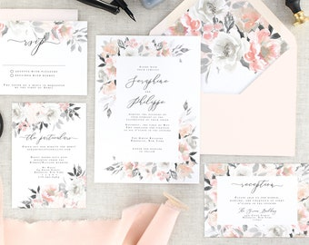 Blush Wedding Invitations Printed - Pink Wedding Invitation Suite - Grey Wedding Invitation Set - Pink and Grey Wedding Invites - Set of 10