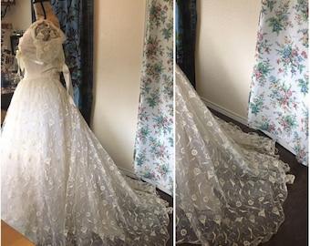 Vintage 1950s Lace Wedding Dress, Crinoline, and Veil