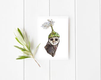 Owl & feather hat Card, Owl card, greeting card, blank card, Owl greeting card, Owl blank card, Owl illustration, Owl painting, feather card