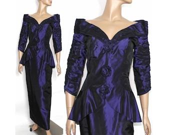 Vintage 1970s Dress | 70s Dress | Iridescent Dress | Purple Dress | 70s Peplum Dress | 1970s Party Dress | 1970s Purple Dress