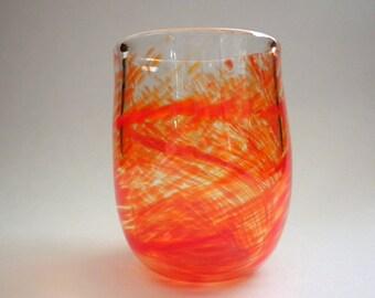 Orange Blown Glass Tumbler