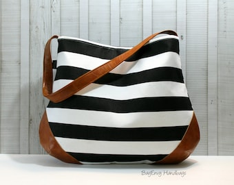 The Snoho Slouch Bag - Black and White Stripe with Vegan Leather