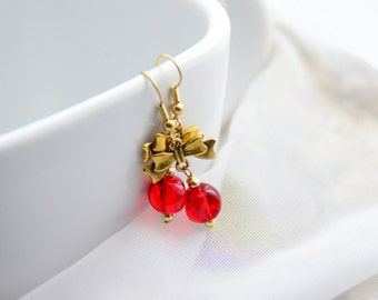 Gold Bow Red Dangle Earrings - Hypoallergenic Gold Plated Earwires!