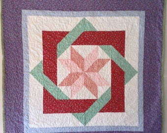 Geometric Design Quilt, Labyrinth Quilt, Wall Quilt, Throw, Baby Quilt, Handmade Quilt, Patchwork Quilt, Wall Hanging, Table Topper