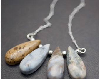 Ocean Jasper Drop and Sterling Silver Necklace - On SALE