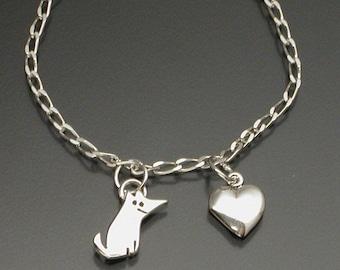 Dog with Heart bracelet