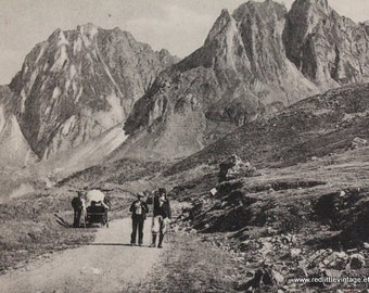 Old Pictures - Vintage Postcard of Hikers in Les Hautes Pyrenees, French Ephemera- Gift for Hikers, Old Postcard, Postcards