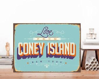 Love from Coney Island, Coney Island sign, Coney Island wall art, American city print, USA metal sign, City sign, USA sign, Metal art
