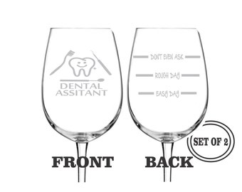 2 DENTAL ASSISTANT ETCHED Wine Glasses Set of 2 Engraved Wine Glasses Gift for Dental Assistant Funny Wine Glasses Gift Cocktail Glass