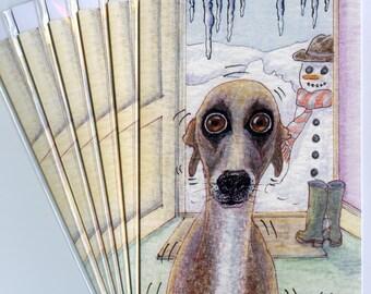 6 x Greyhound greyhound whippet lurcher dog greeting cards - joking