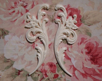 FLEXIBLE Acanthus Leaf Floral Sides Pair Furniture Applique Architectural Onlay Embellishment
