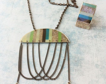 Jewelry set necklace and ring -paper jewelry -stripes -glitter-long necklace -geometric paper ring -pending chains necklace