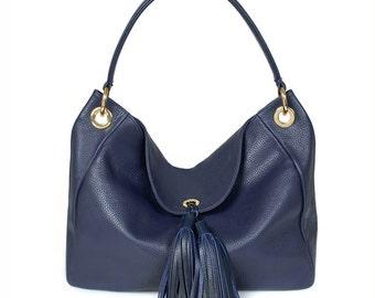 Leather Hobo Bag, Dark blue Leather Hobo Bag, Women's Leather Hobo Purse KF-015