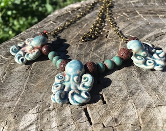 Long Octopus Lava, Ceramic, and Metal Beaded + Chain Necklace