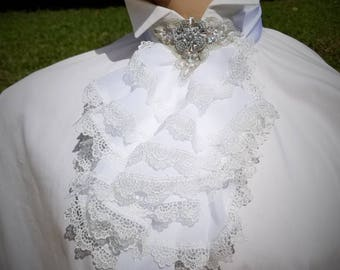 White Jabot, 18th Century Clothing, Men's Costume, Mens Ruffle Shirt, Marie Antoinette, Rococo, Cosplay Men.