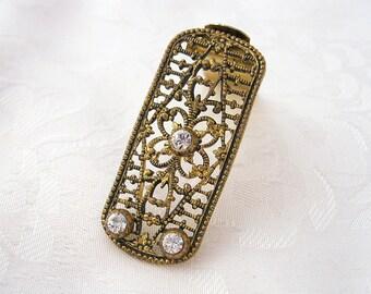 Vintage Brass Dress Clip Signed LW Paris Rhinestone Crystal Floral Restored