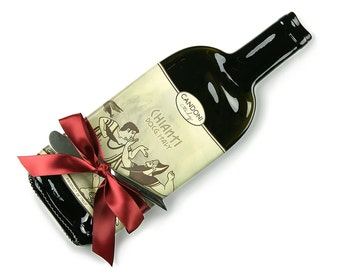 Melted Wine Bottle Cheese Plate Candoni Chianti, Upcycled Bottles, Recycled Wine Bottles, Cheese Board, Red Wine and Cheese, Gifts for Her