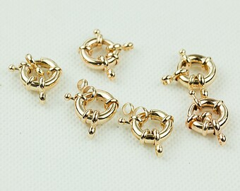 Rose Gold Spring Clasps, 13mm Clasp Wheel, Brass Clasp, Pkg of 5 pcs, F0IP.RG04.P05