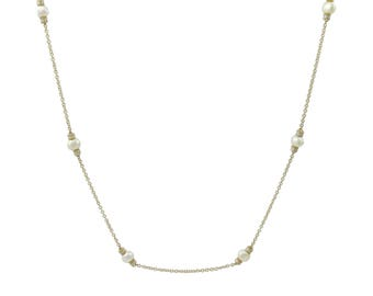14K Gold Long Chain Necklace Baroque Cultured Pearls & Diamonds