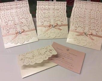 Laser cut wedding invitation sample