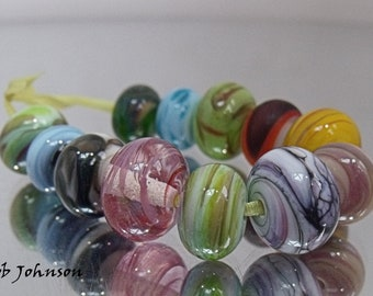 Summer Orphans, Artisan Lampwork Glass Beads, SRA, UK