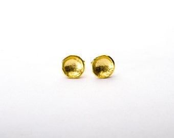 Gold dipped darling cup studs- recycled sterling silver