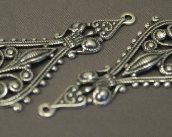 2 pc Lehi Filigree Pendant - Antiqued Sterling Silver Plated Brass
