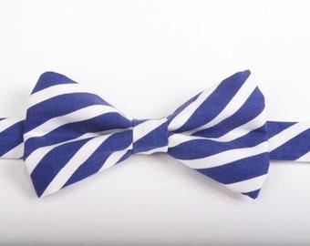 Navy & White Stripe Bow Tie -Baby Toddler Child Boys - Wedding - photo prop