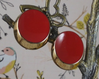 1960-70's Vintage Signed Bergere Red & Gold Clip On Earrings