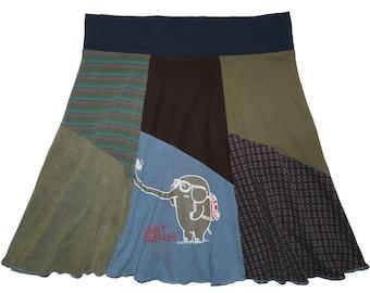 Plus Size Clothing 2X 3X Upcycled Skirt Boho Hippie Skirt Athleisure Elephant t-shirt best selling item Twinkle Skirt Twinklewear