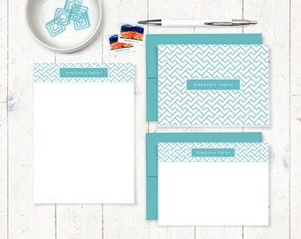 complete personalized stationery set - Z-FRET GRAPHIC PATTERN - personalized stationary set - note cards - notepad