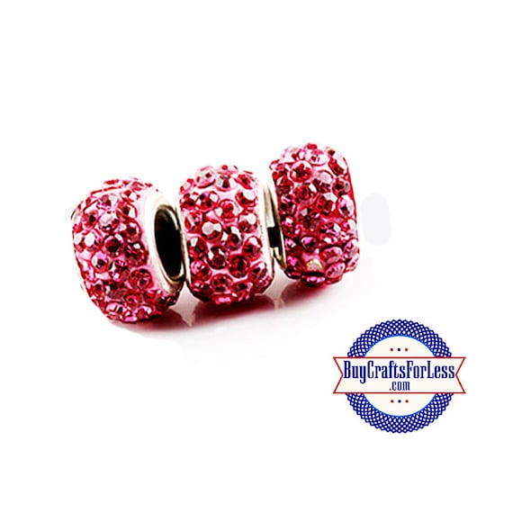 Glittery Glass Beads, PINK, 6, 12, 24 pcs +FREE Shipping & Discounts
