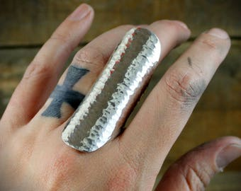 Warriors Shield - Large Hammered Saddle Ring in Sterling Silver