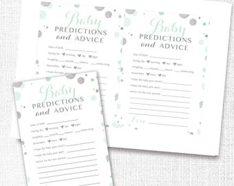 Mint and Silver Confetti Baby Predictions and Advice Card, Printable, Baby Shower, Sprinkle, Game, Keepsake, Instant Download, Digital