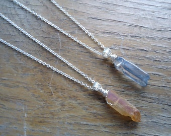 Crystal Point Necklace - Orange Topaz Necklace - Blue Topaz Necklace - Amulets - Healing Jewelry - Handmade Gifts