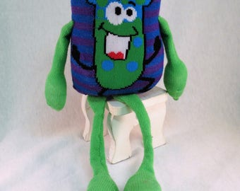 Sock Monster, 'Mad Science' Monster, Plush Toy, Green Pillow Monster, Child Toy, Handmade Monster