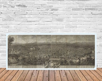 Ancient lithography City of Rome, panoramic view, very old, fine art reproduction, large print