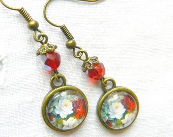 Earrings, cabochon flower, bouquet of roses