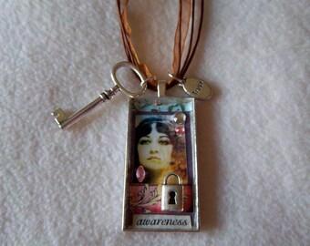 Healing Art awareness / trust Necklace, No.46