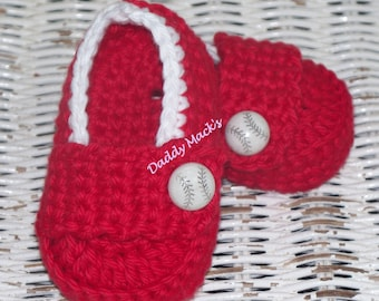 Baby Booties Little Baseball Loafer Booties in Red with Gift Box / you choose size / DaddyMackHats