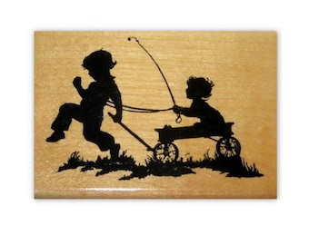 Children & Wagon Silhouette mounted rubber stamp, kids, summer fun, Crazy Mountain Stamps #1