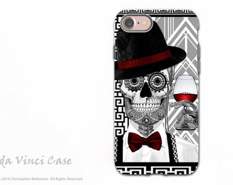 Art Deco Sugar Skull iPhone 7 and iPhone 8 Case - Black and White 1920s Day of the Dead Case - Dual Layer Case - Mr JD Vanderbone