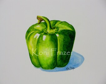 Green pepper, kitchen art, colorful home decor, original watercolor painting