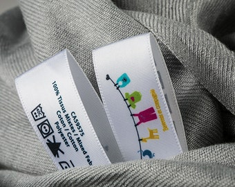 1000 Custom Printed Labels in  Multicolor Full Color Printed Custom Printed Tags, Washable Labels & Sewing Tags For Clothing Apparel Care.