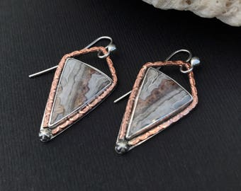 Crazy Lace Agate Earrings, Triangle Mixed Metal Metalsmith Copper and Sterling Silver Dangles, Unique Boho Chic Drop Earrings Brown Cream