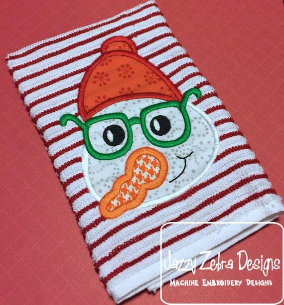 Snowman wearing beanie hat and glasses Applique Embroidery Design - Snowman appliqué design - boy appliqué design - snow boy appliqué design