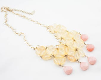 Vintage COLDWATER CREEK Signed Gold Tone Beige Pink Faceted Glass Beads Multi Flower Bib Necklace