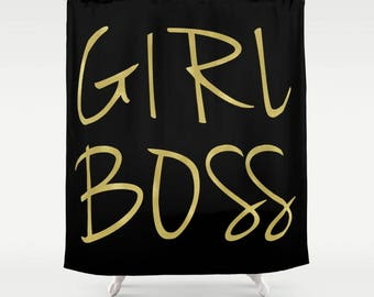 Girl Boss, Shower Curtain, Gold Shower Curtain, Girls Bathroom Decor, Black and Gold, Girls Shower Curtain, Housewarming Gift, Gifts for Her